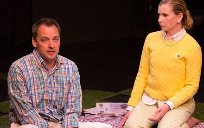 Marcus Kyd as Henry and Jen Rabbitt Ring as Amy in She Rode Horses Like the Stock Exchange. Photo by Teresa Wood.