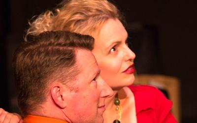 Dan Crane as Max, Tonya Beckman as Sara in She Rode Horses Like the Stock Exchange. Photo by Teresa Wood.