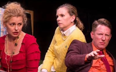 Tonya Beckman as Sara, Jen Rabbitt Ring as Amy, Dan Crane as Max in She Rode Horses Like the Stock Exchange. Photo by Teresa Wood.